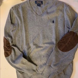 Boys Polo elbow patch sweater size L 14/16